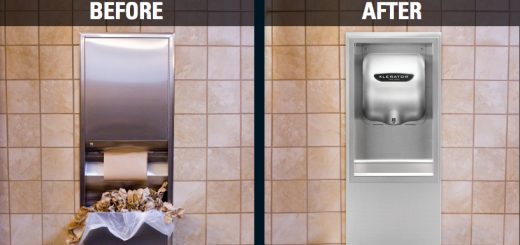 Hand Dryer vs Paper Towels Before and After